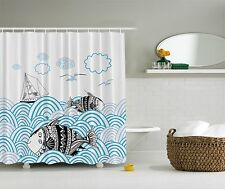 Blue Ocean Nautical Sailboat Beach Fabric Shower Curtain Digital Art Bathroom