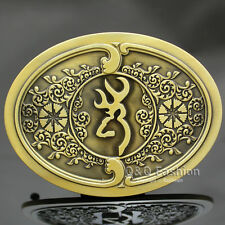 Scottish Kilt Gold Deer Elk Antler Stag Head Hunt Brocade Western Belt Buckle