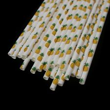 25 Pineapple Print Paper straws | Kids Fruit Party Table Drink Decoration