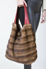 BROWN DEMI-BUFF MINK FUR BAG HANDBAG HOBO PURSE POUCH Visone-Nerz-Норка