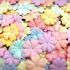 50 Mixed Pastel Color Heart Flowers (25 mm.) mulberry paper for Craft & D.I.Y