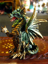 DRAGON FIGURE FIGURINE Icefyre 9cm GREEN & GOLD ORNAMENT GOTHIC Fantasy PAGAN