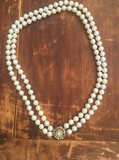 VTG Double Strand Faux Pearl Necklace Rhinestone Clasp 22 Floral ANTIQUE JEWELRY