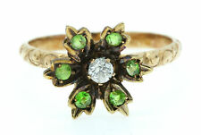 Uno splendido Edwardian Diamond & DEMANTOID GARNET Verde Anello intorno al 1900's