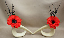 ARTIFICIAL SILK (SET OF 2) RED DAHLIA FLOWERS IN CREAM COMMA CERAMIC VASE