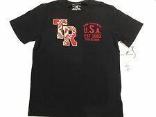 TRUE RELIGION MEN T-SHIRT IKAT 2002 V NECK SS BLACK PREMIUM QUALITY NWT XL $68