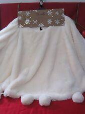 """THRO MARLO LORENZ WHITE CREAM FAUX FUR POM POM  52"""" CHRISTMAS TREE SKIRT NEW"""
