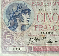 1928 France 5 francs Banknote   very nice !
