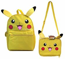 "Pokemon Pikachu 16"" Large School Backpack Lunch Bag 2pc Book Bag Set Plush Ear"
