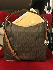 NWT MICHAEL KORS SIGNATURE PVC ANITA LARGE CONVERTIBLE  SHOULDER BAG IN BROWN