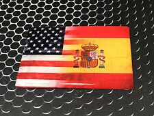 "America USA Spain Dual Country Domed Decal American Spaniard Sticker 3D 3.25""x2"""