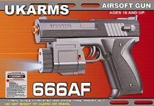 """6.5"""" Spring Black Airsoft Pistol Gun Laser Light 125fps Air Soft 666af +1000 BBS"""