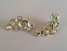 Pair Vintage 80s Clip-on Evening Earrings. Goldtone Twists with Pyrite Spangles
