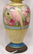 Vintage 1940s Table Lamp HP Parrot Cockatoo Pink Roses GORGEOUS!
