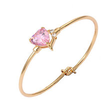 Toddlers Baby 18K Yellow Gold Filled Heart Pink Cz Cuff Bangle Bracelet Jewelry