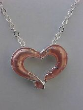 Pink Heart Necklace Enamel Open Heart Silver Speck Cable Chain Necklace 16""
