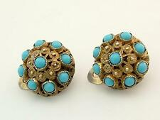 Antique Silver Gilt & Turquoise Etruscan Revival Style Clip On Earrings