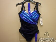 New Womens Miraclesuit One Piece Swim Suit Ladies Bathing Size 10 Blue Black NWT