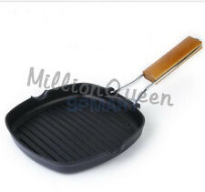 Non Stick Griddle Pan Folding Wooden Handle Grill Fry Coated Steak Pan Salable E