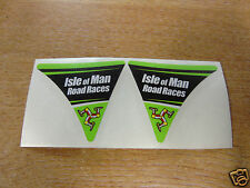 Isle of Man Road Races - TT Visor Corner Decal Sticker - GREEN