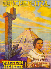 Yucatan Chichen-Itza Mexico Mexican Vintage Travel Advertisement Art Poster