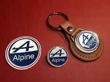 2# RENAULT ALPINE :  LEATHER KEY RING,   GOLD  PLATED  BADGE  +    PHONE STICKER