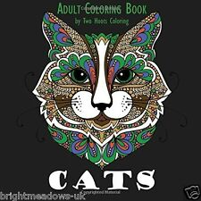 CATS Cat Lovers Adult Colouring Book Creative Art Therapy Relax Gift Kitten Calm