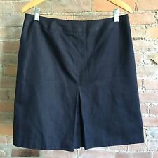 Brooks Brothers Loro Piana Denim Skirt Blue Kick Pleat Size 12