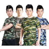 Mens Army Military T Shirt Camo Camouflage Tees Tee Vest Top Shirts Combat