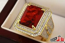 14k Gold Finish .925 Silver Simulated Red Ruby Mens Ring Size 10 Iced Out Style