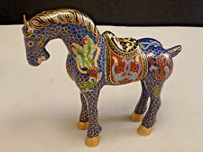 Antique Chinese Cloisonné Enamel Tang Saddled Large Lucky Horse 5.5""