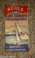 Vintage Brochure KUHLS Marine GLUES CEMENT 1940 Boat Chart w products shown