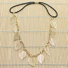 Diamante Alloy Elastic Hair Bands Chain Jewelry Gold Hollow Leaves Headband Prom