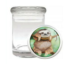 Cute Sloth Images D2 ODORLESS AIR TIGHT MEDICAL GLASS JAR CONTAINER