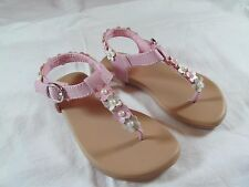 NWT Girls OKIE DOKIE PINK FLOWER & PEARLS THONG SANDALS size 6 M toddler