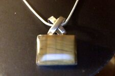 """Vintage Taxco Tiger's Eye Sterling Rectangle Pendant & Chain17"""" TW=21.5 g 925"""