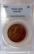 AUSTRALIA: 1927 ONE PENNY PCGS AU58 CV $360