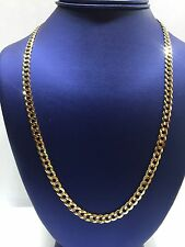 "Solid 10k Yellow Gold Cuban Curb Link 6mm wide 22"" Chain Mens Necklace"
