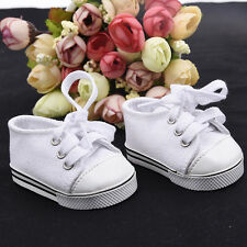 Handmade Canvas Weiß Schuhe for 18inch American Girl Doll Baby Kids Toys