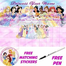 Disney Princess LS Personalised Reusable Reward chart & princess stickers & pen