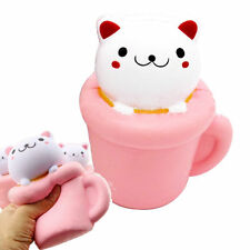 New Colossal 14CM Squishy Pink/Red Cup Cat Slow Rising Cream Scented Phone Strap
