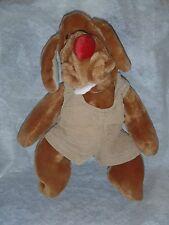 "VTG Wrinkles Plush Puppet Brown Dog Ganz Bros 19"" Overalls Puppy"