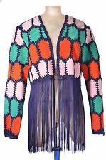 Faux Suede Leather Crochet Fringe Cardigan Jacket Size UK 10 EUR 38 US 6