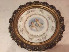 Antique Framed Limoges Cherubs Framed Plate Charger T.V. France