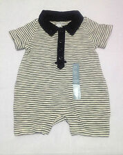 NWT BABY GAP BOY'S NAVY BLUE POLO STRIPED ONE-PIECE ROMPER (0-3 M)