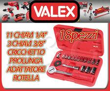 CHIAVI A BUSSOLA SERIE SET 18 PEZZI CRV IN VALIGIA VALEX CRICCHETTO REVERSIBILE