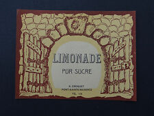 Ancienne étiquette LIMONADE PUR SUCRE Croquet Pont-Sainte-Maxence french label