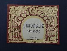 Ancienne étiquette LIMONADE PUR SUCRE Croquet Pont-Sainte-Maxence french label