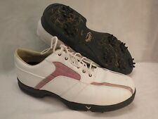 Callaway Golf Shoes Ladies ERC Collection Leather White Pink Striped 9.5 EXC XWT