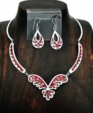 Southwestern Red Butterfly Inset Abalone Necklace Earring Set Taxco Mexico